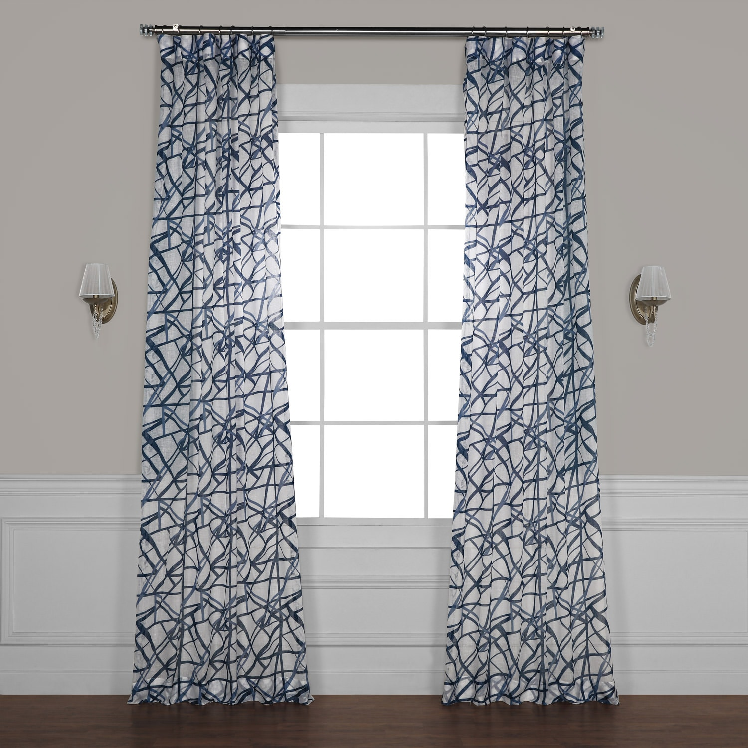 Matrix Blue Printed Faux Linen Sheer Curtain