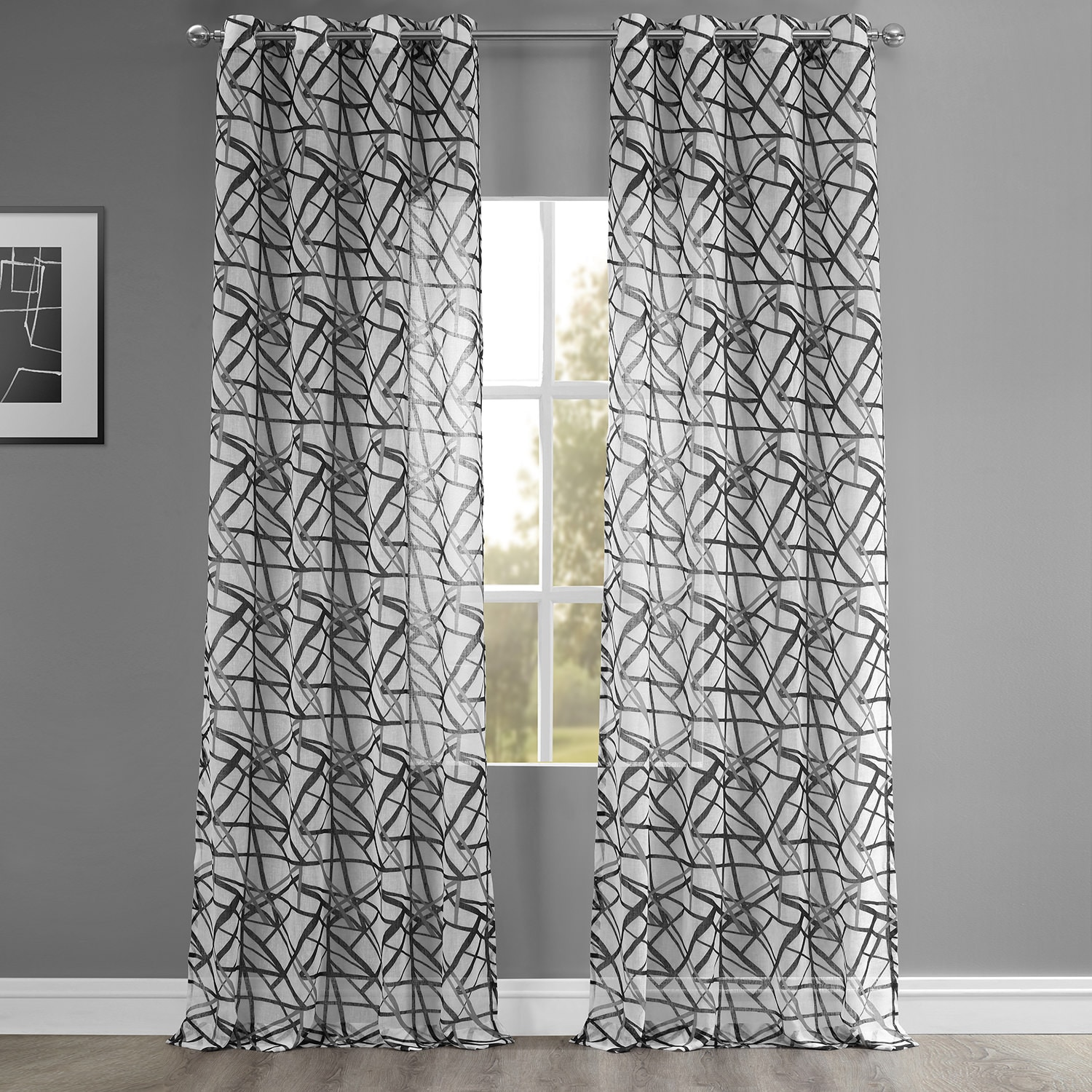 Matrix Black Grommet Printed Faux Linen Sheer Curtain