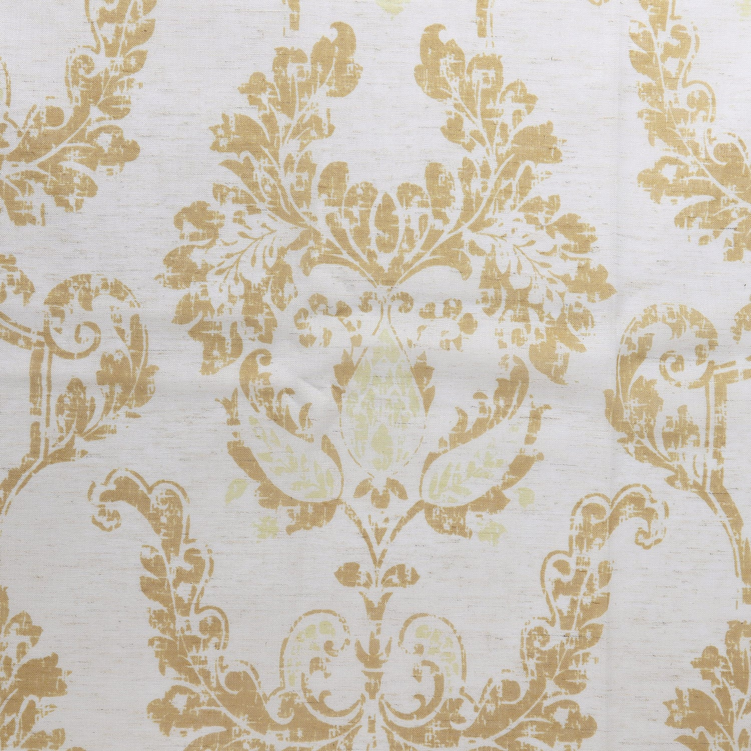 Terrace Gold Printed Faux Linen Sheer Fabric