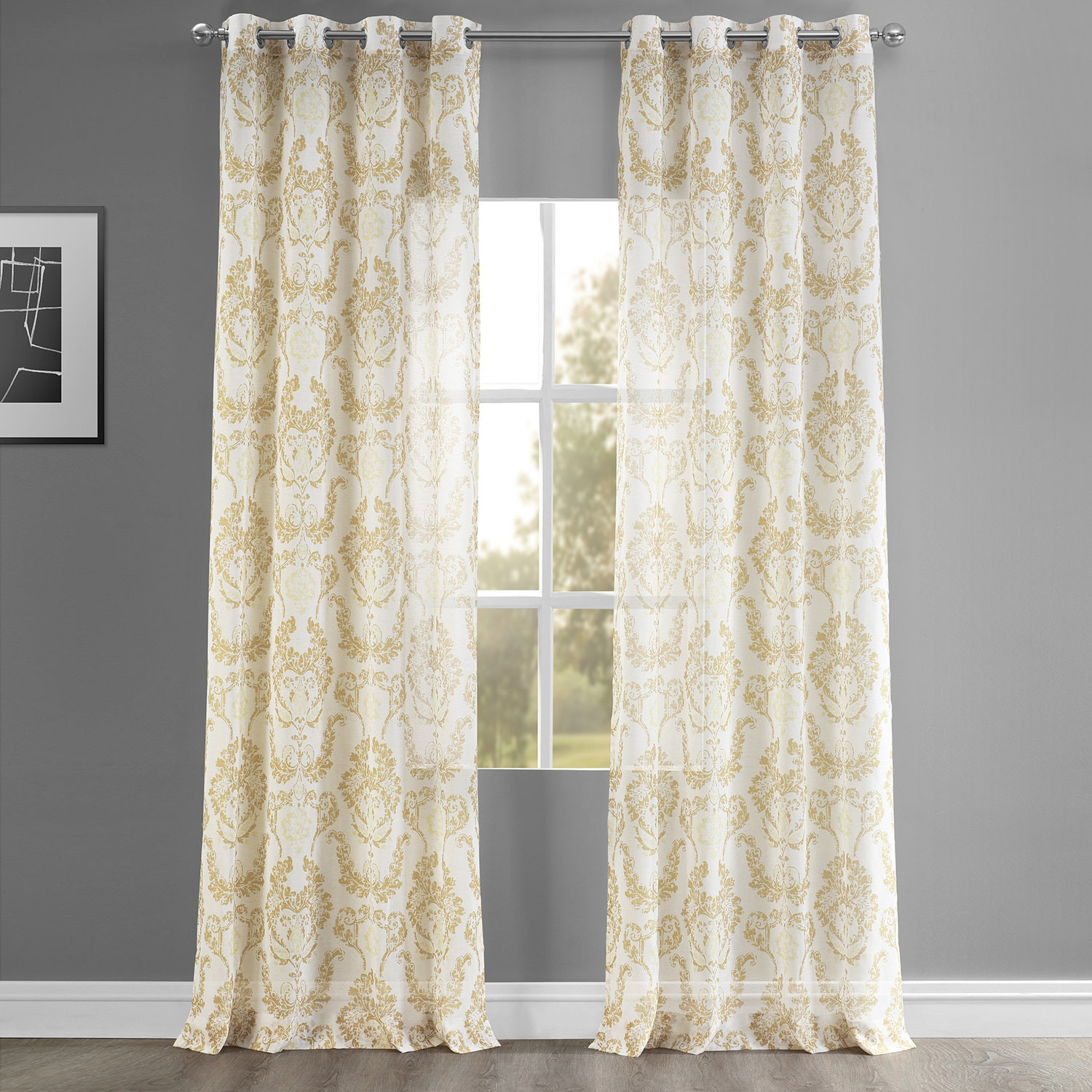 Terrace Gold Grommet Printed Faux Linen Sheer Curtain