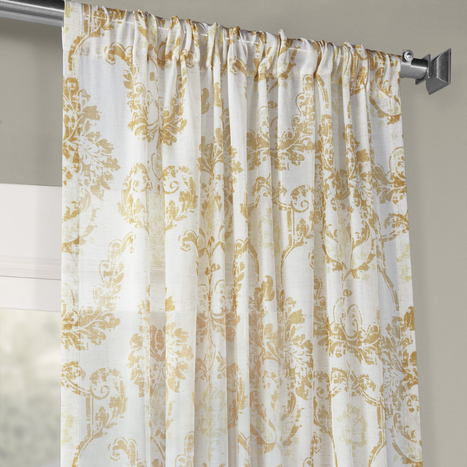 Terrace Gold Printed Faux Linen Sheer Curtain