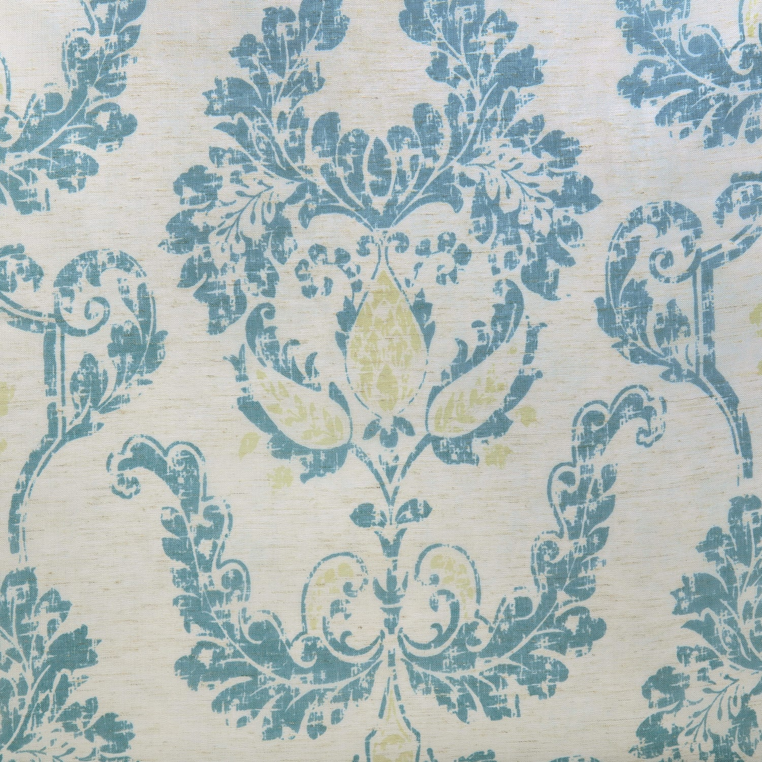 Terrace Teal Printed Faux Linen Sheer Fabric