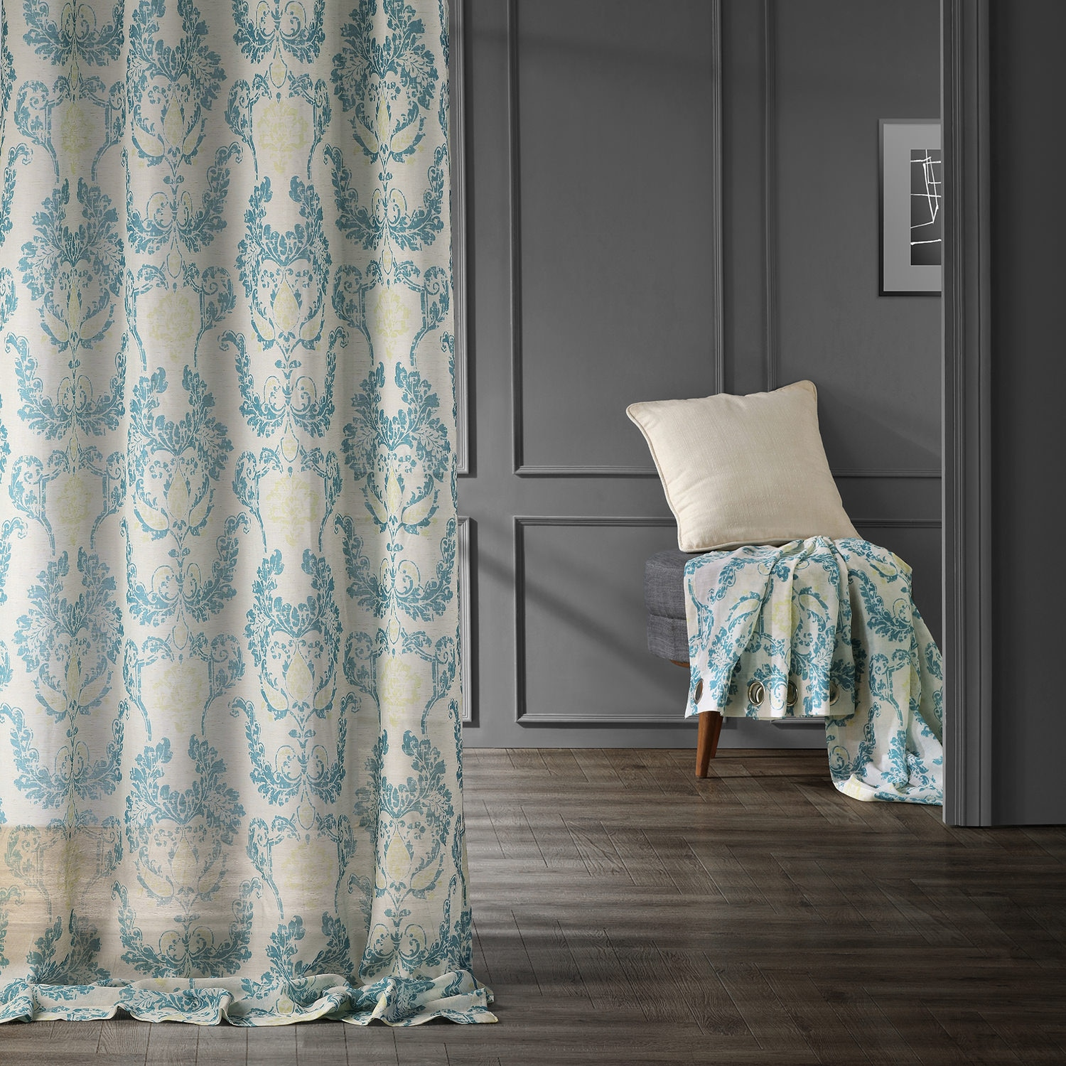 Terrace Teal Grommet Printed Faux Linen Sheer Curtain