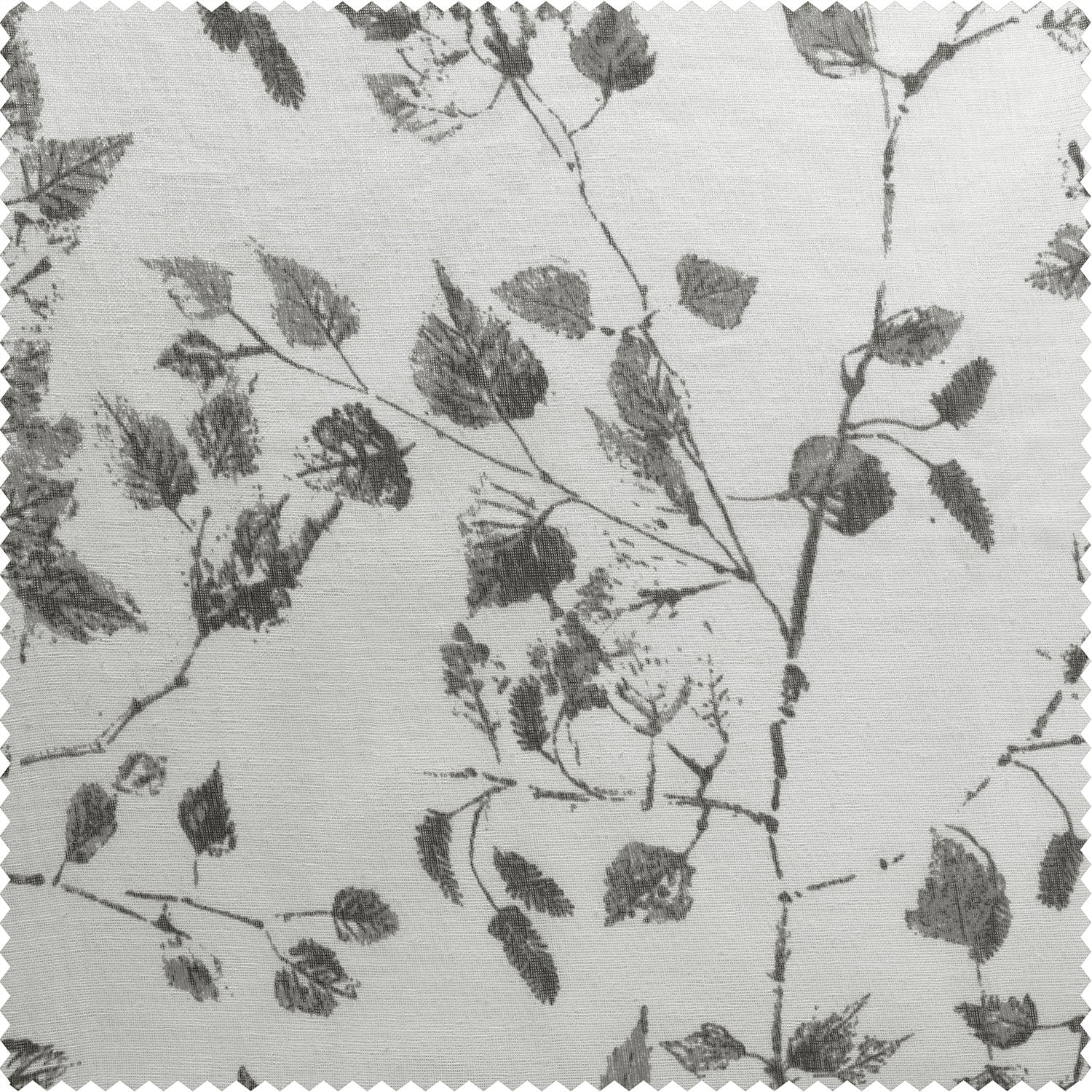 Woodland Grey Printed Faux Linen Sheer Fabric