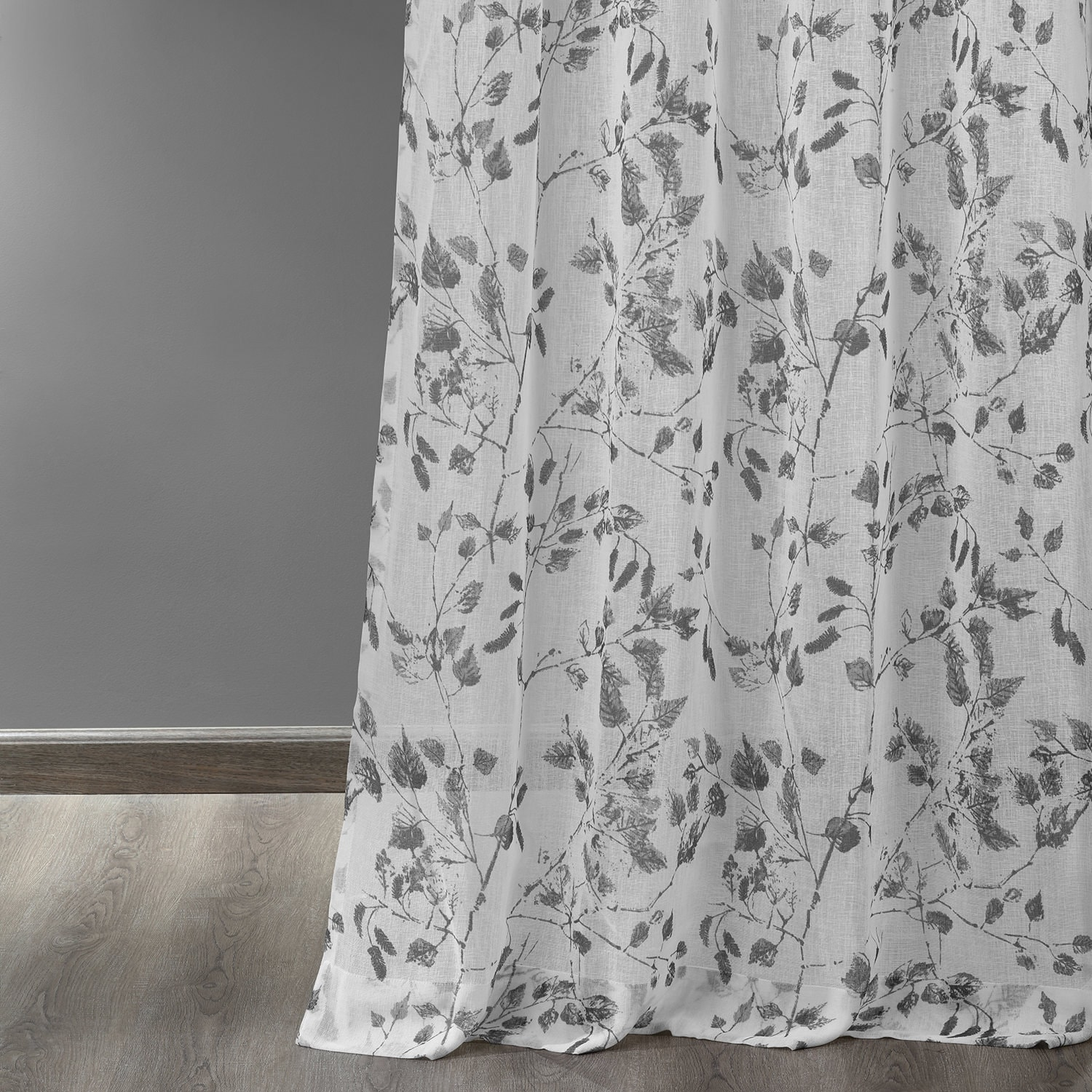 Woodland Grey Grommet Printed Faux Linen Sheer Curtain