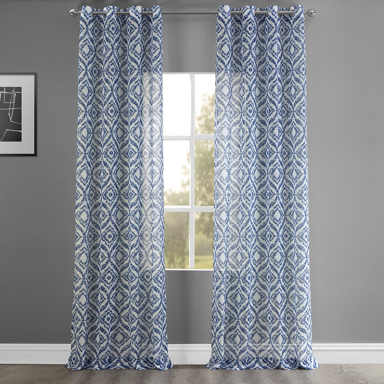 Plaza Blue Grommet Printed Faux Linen Sheer Curtain