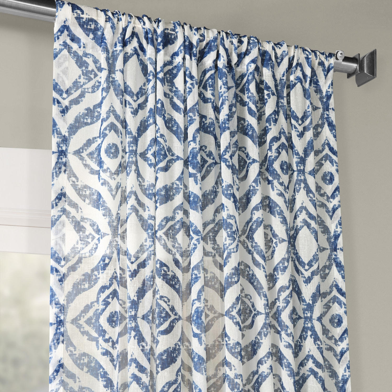 Plaza Blue Printed Faux Linen Sheer Curtain