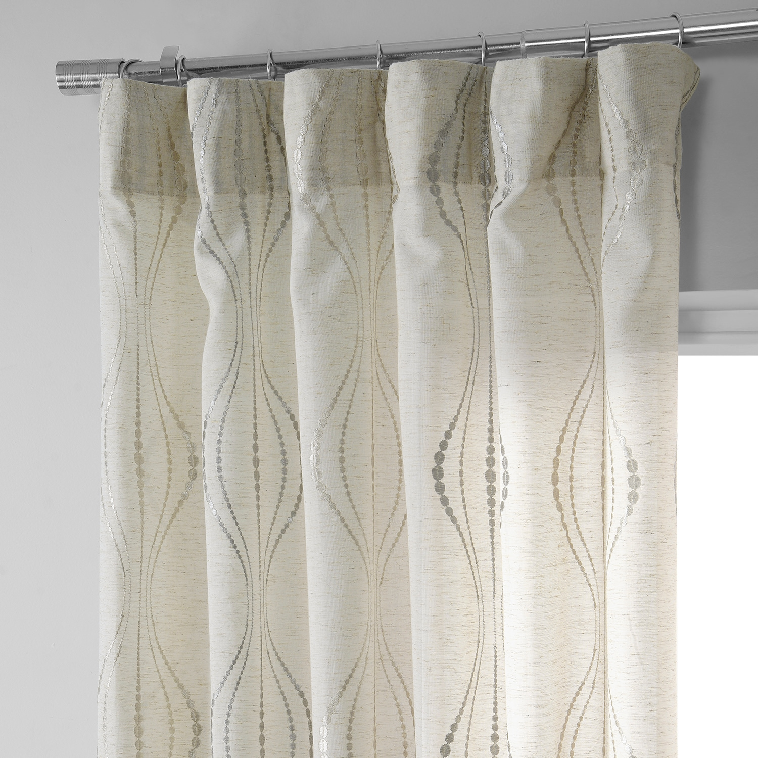 Ikat Lined Drapery Panel Upgrades Aqua Green; Westminster; Cotton; Damask Floral; 50 100 Extra Wide; Custom Curtains; Offer Pleated