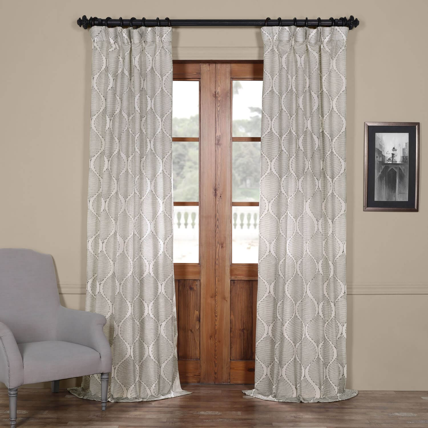 Dreamweaver Silver Taupe Embroidered Faux Linen Curtain