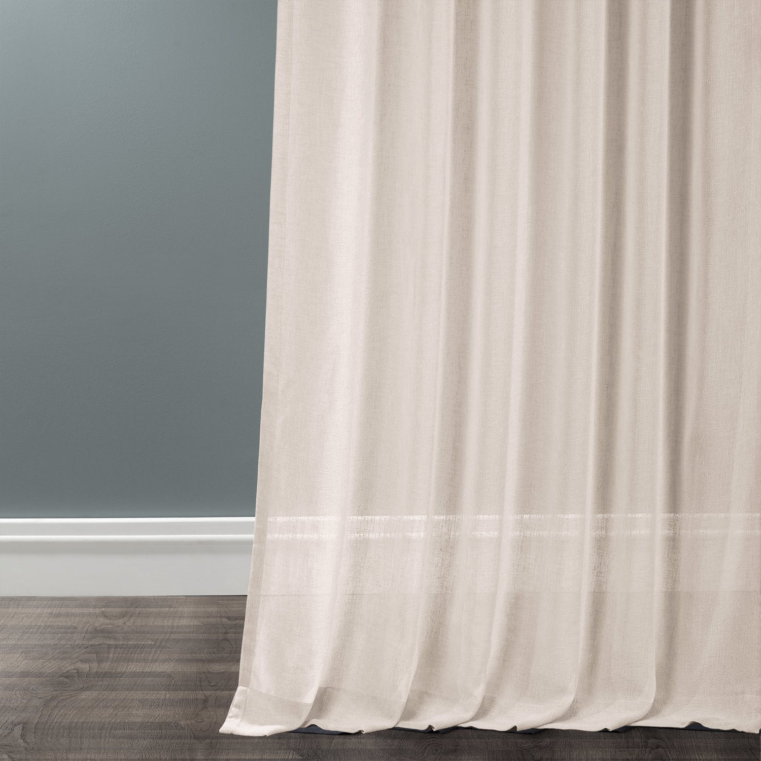 Cotton Seed Solid Faux Linen Sheer Curtain