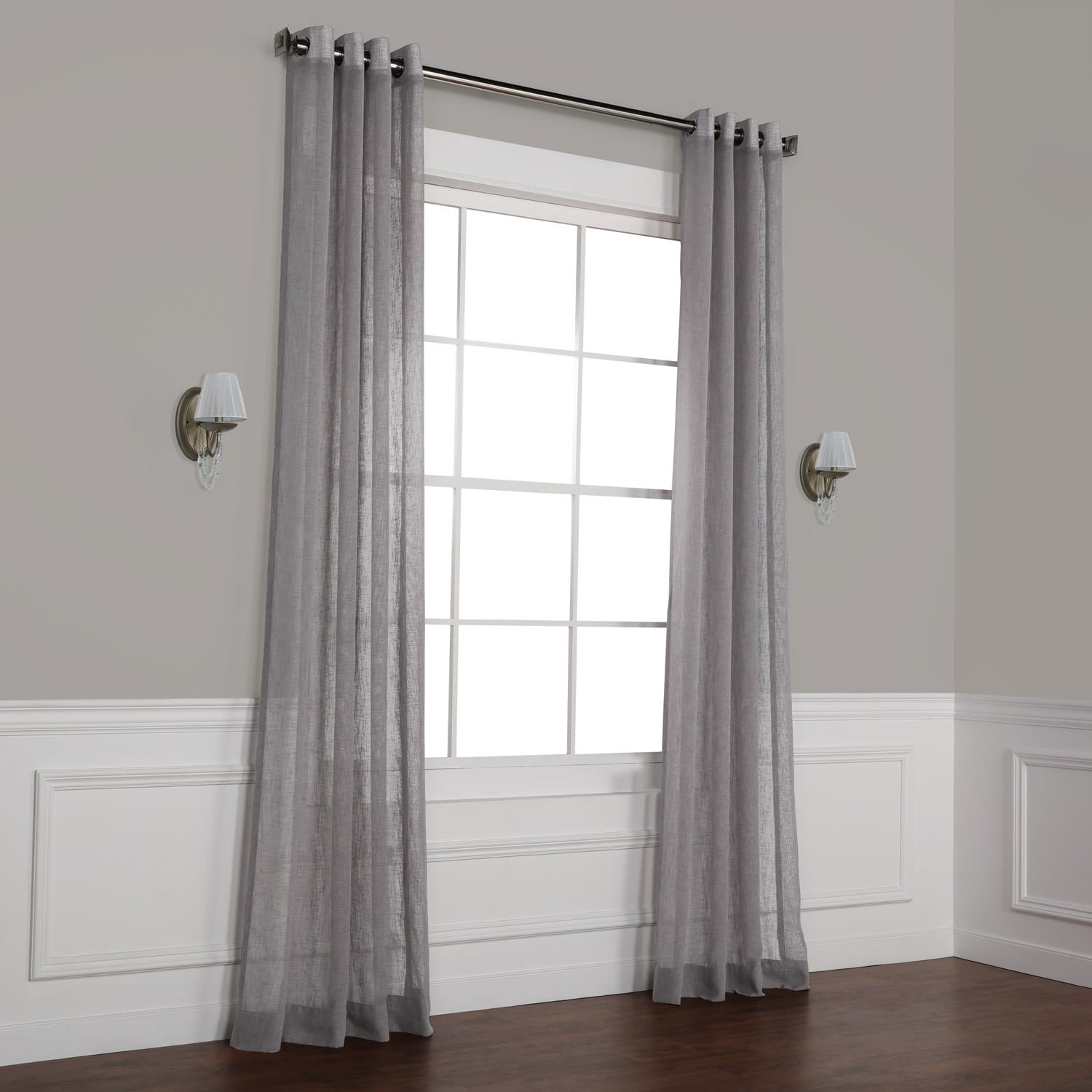 Gravel Grey Grommet Solid Faux Linen Sheer Curtain