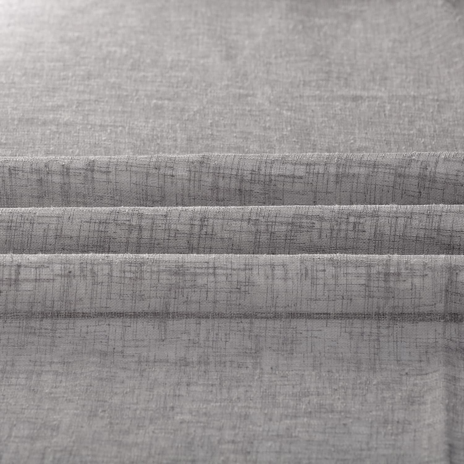 Gravel Grey Solid Faux Linen Sheer Swatch
