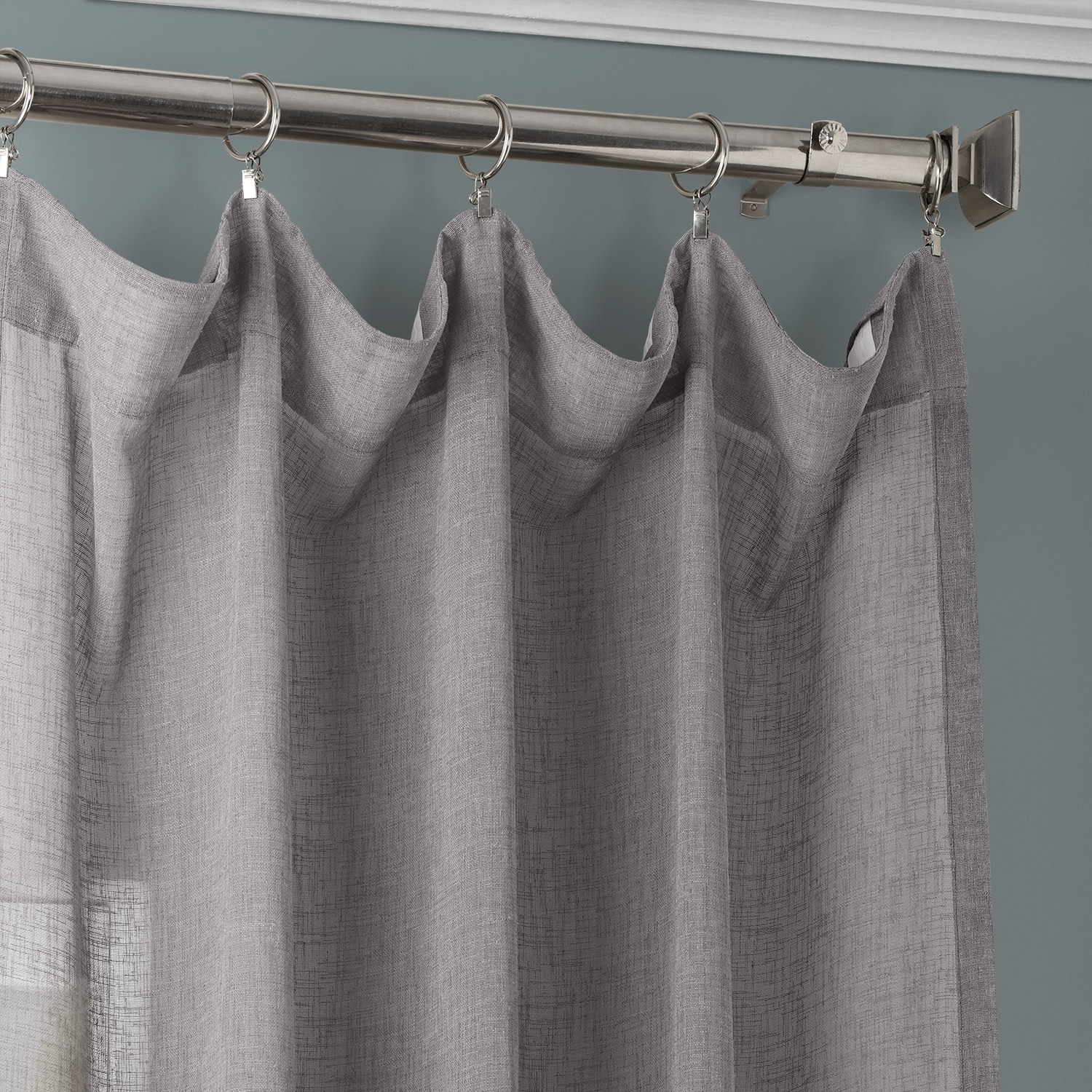 Gravel Grey Solid Faux Linen Sheer Curtain