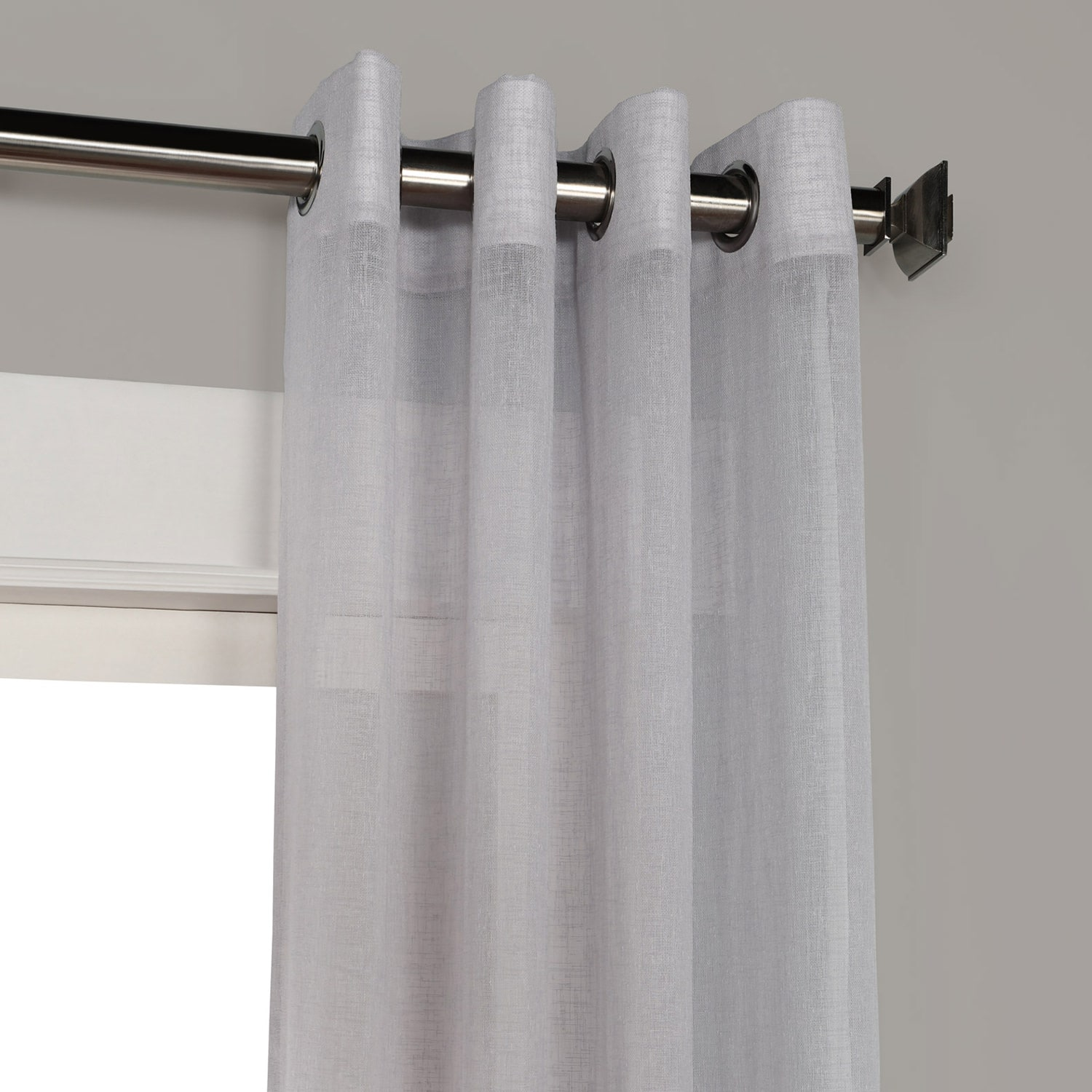Steel Mountain Grommet Solid Faux Linen Sheer Curtain