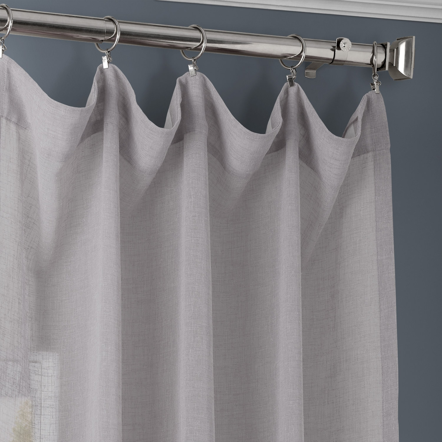 Steel Mountain Solid Faux Linen Sheer Curtain