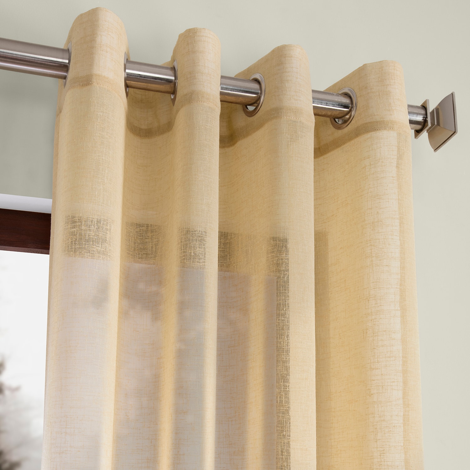 Golden Haze Grommet Solid Faux Linen Sheer Curtain