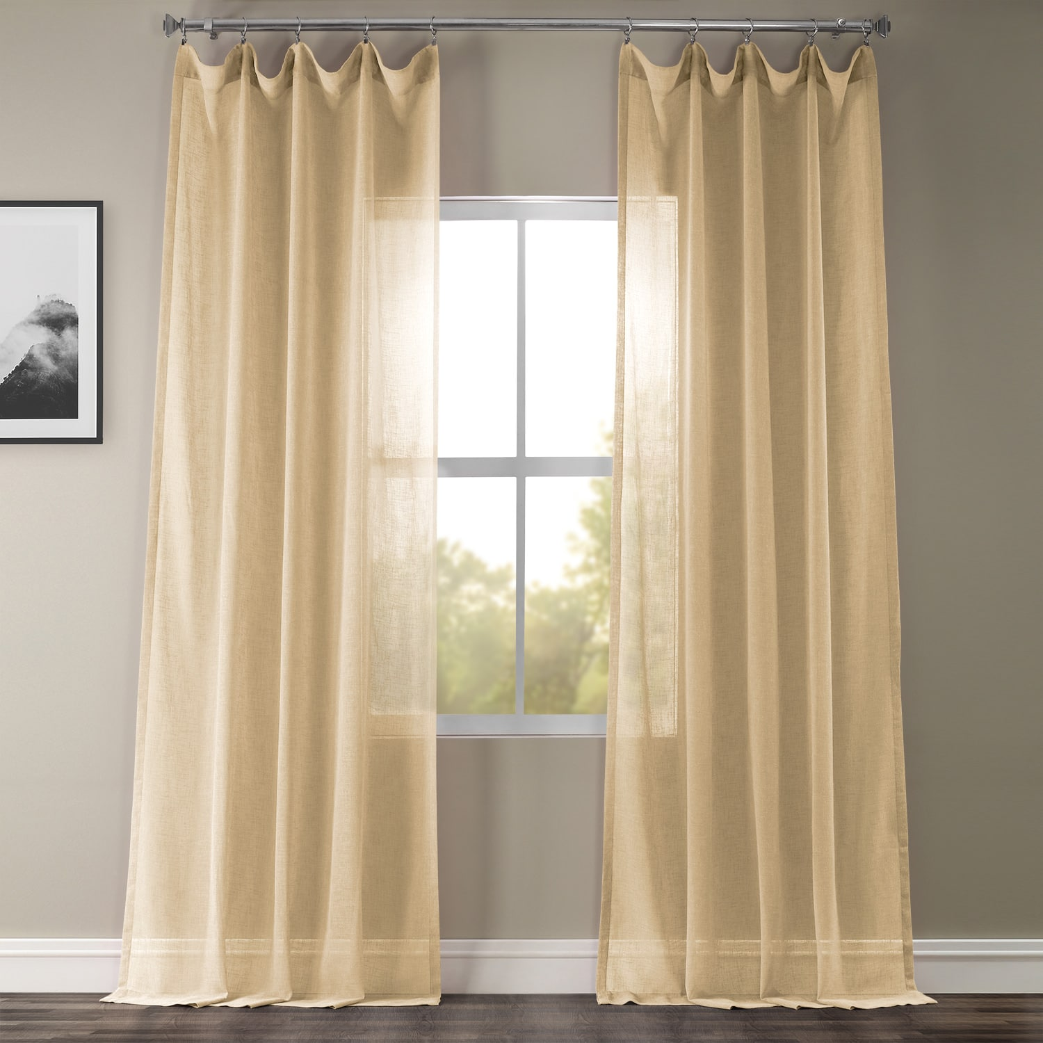 Golden Haze Solid Faux Linen Sheer Curtain