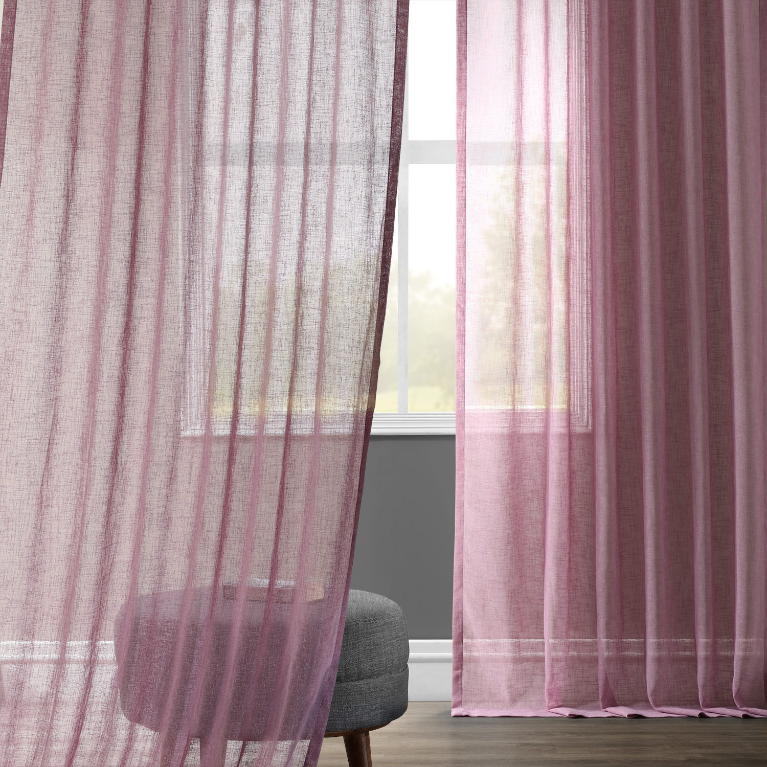 Blackberry Cream Solid Faux Linen Sheer Curtain