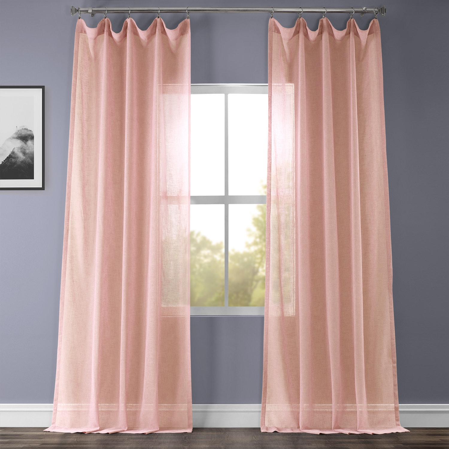 Bashful Pink Solid Faux Linen Sheer Curtain