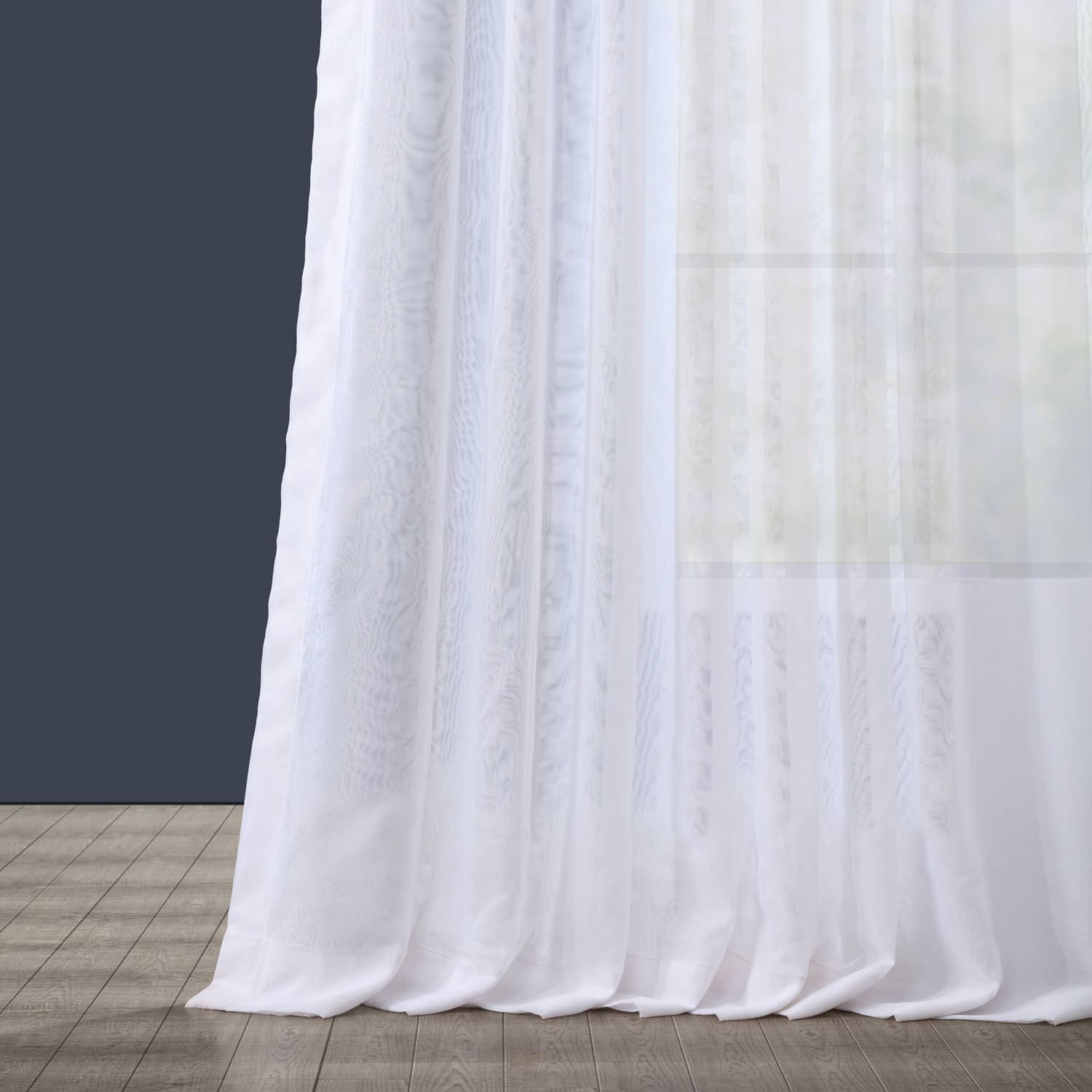 Extra Wide Double Layered White Sheer Curtain