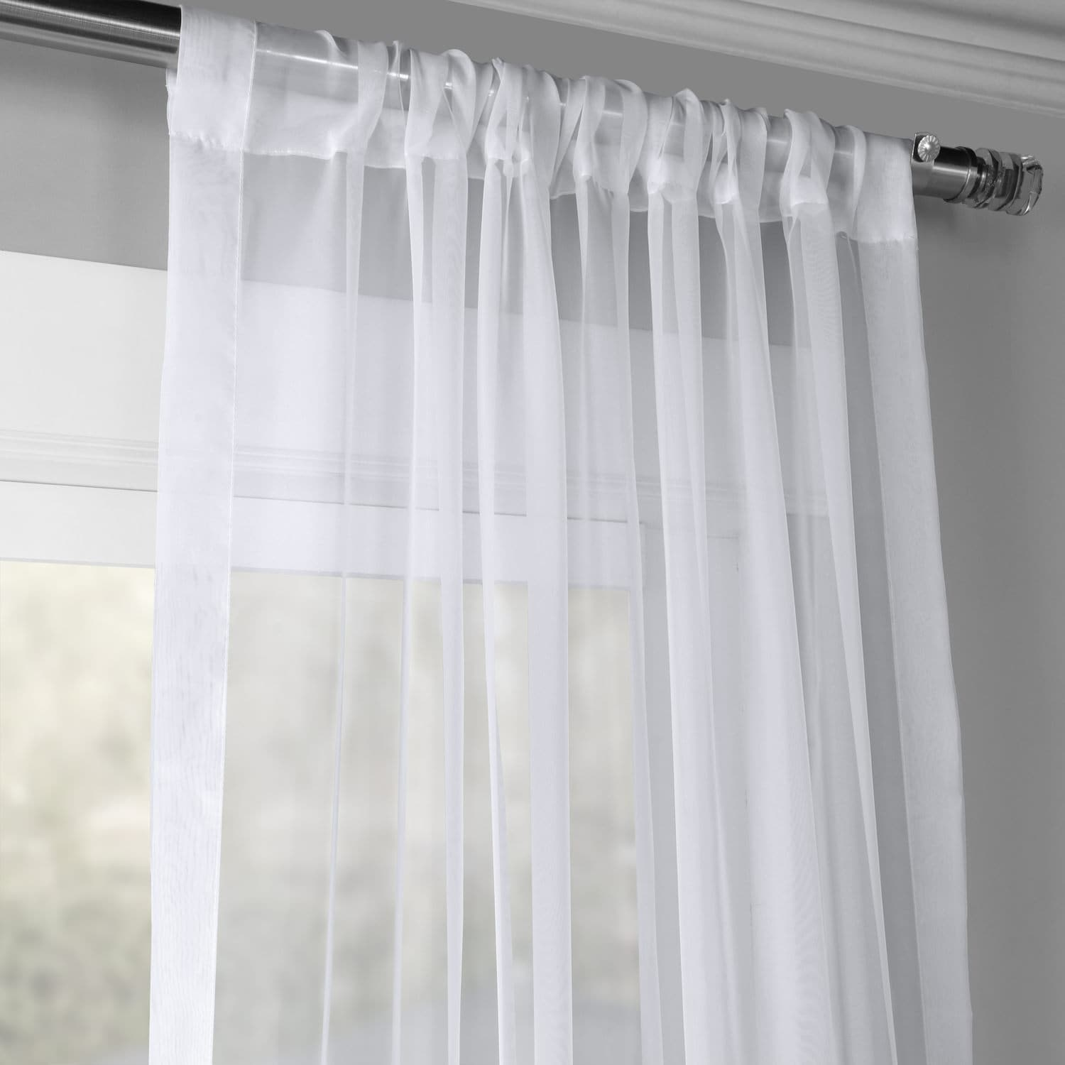 Buy Solid White Voile Poly Sheer Curtains Pair