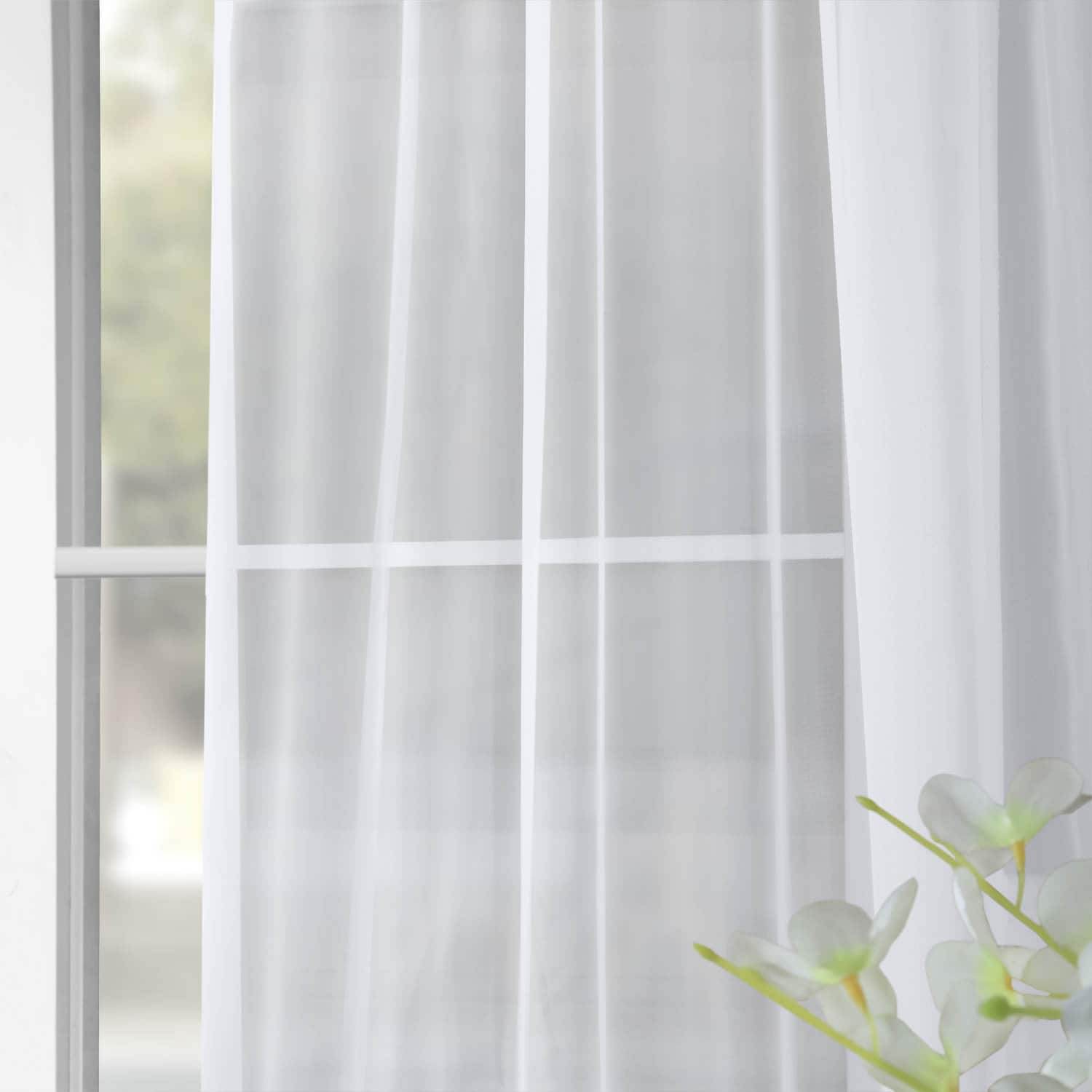 Solid White Voile Poly Sheer Curtain Pair (2 Panels)