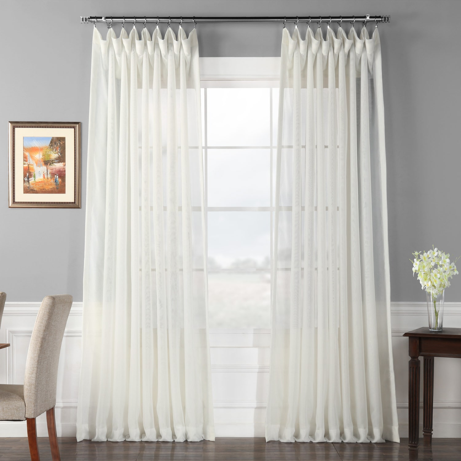 signature double layered extra wide off white sheer curtain - White Sheer Curtains