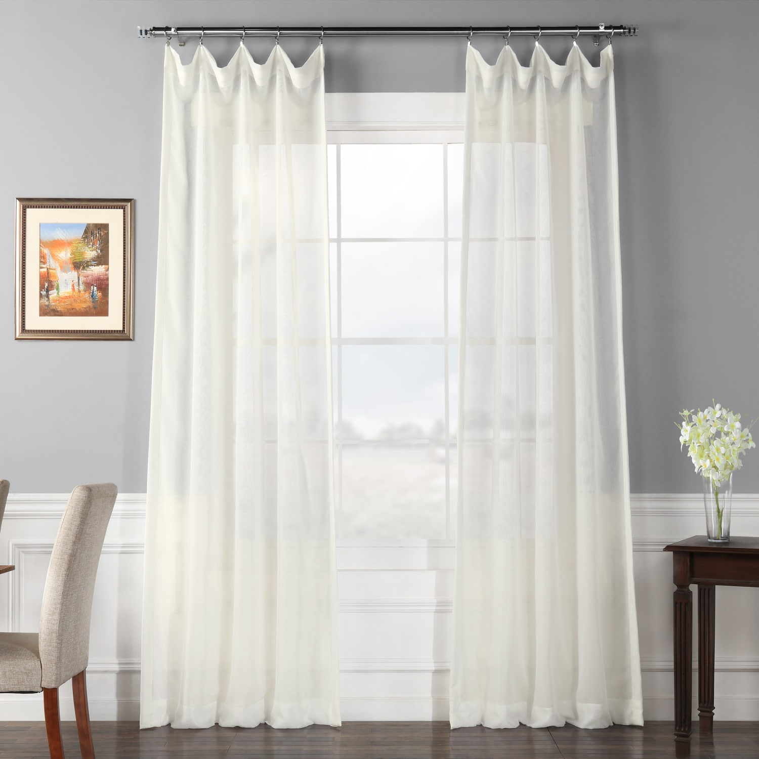 signature double layered off white sheer curtain - White Sheer Curtains