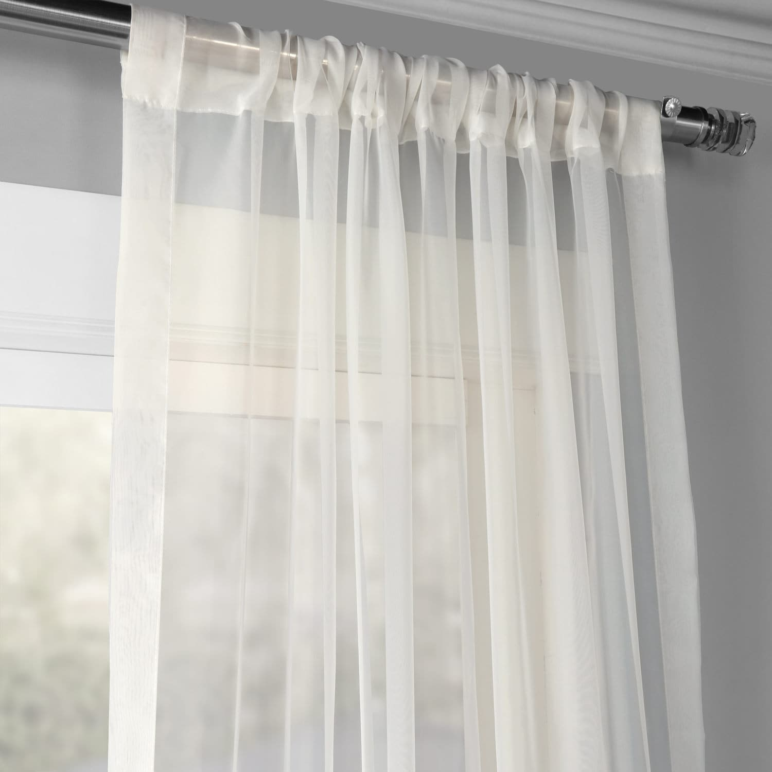Solid Off White Voile Poly Sheer Curtain Pair (2 Panels)