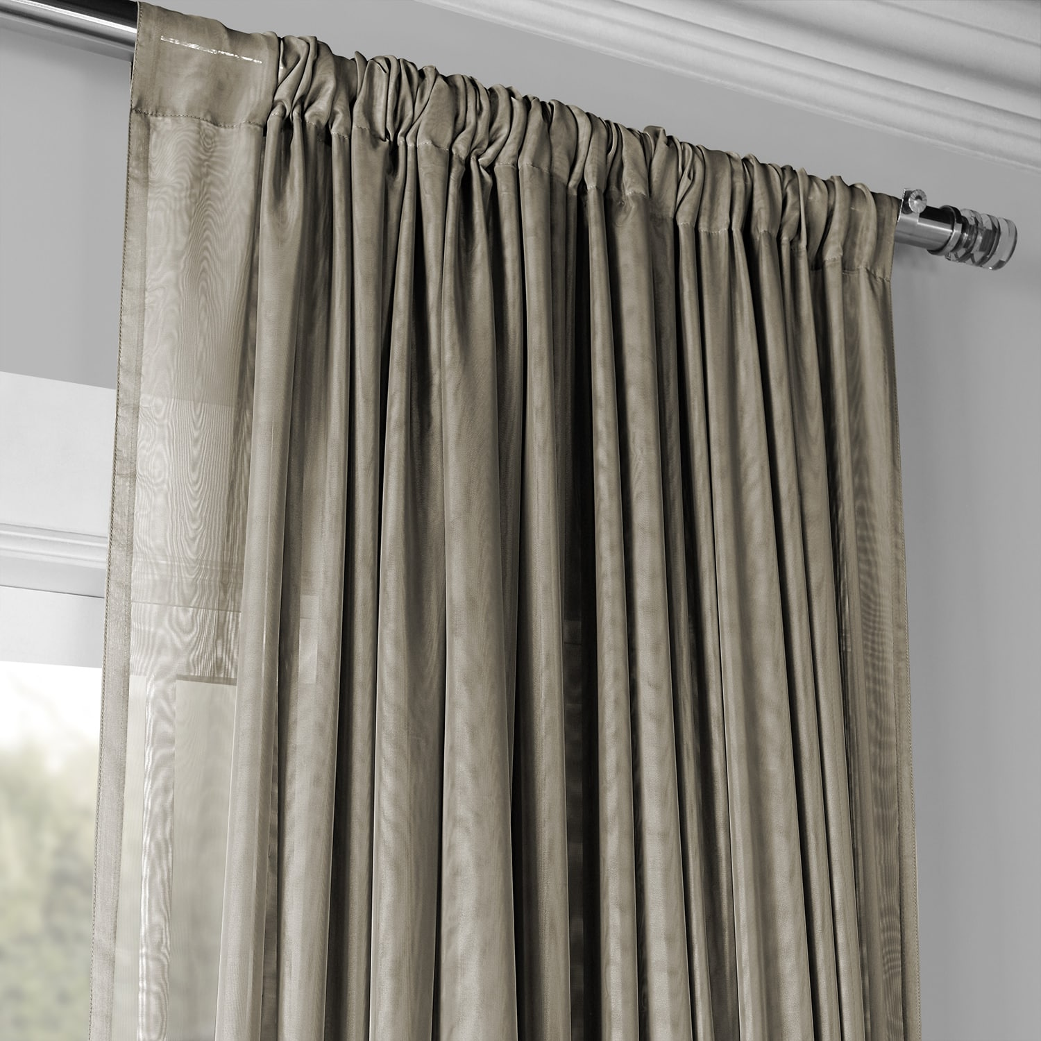 Extra Wide Double Layered Museum Grey Sheer Curtain