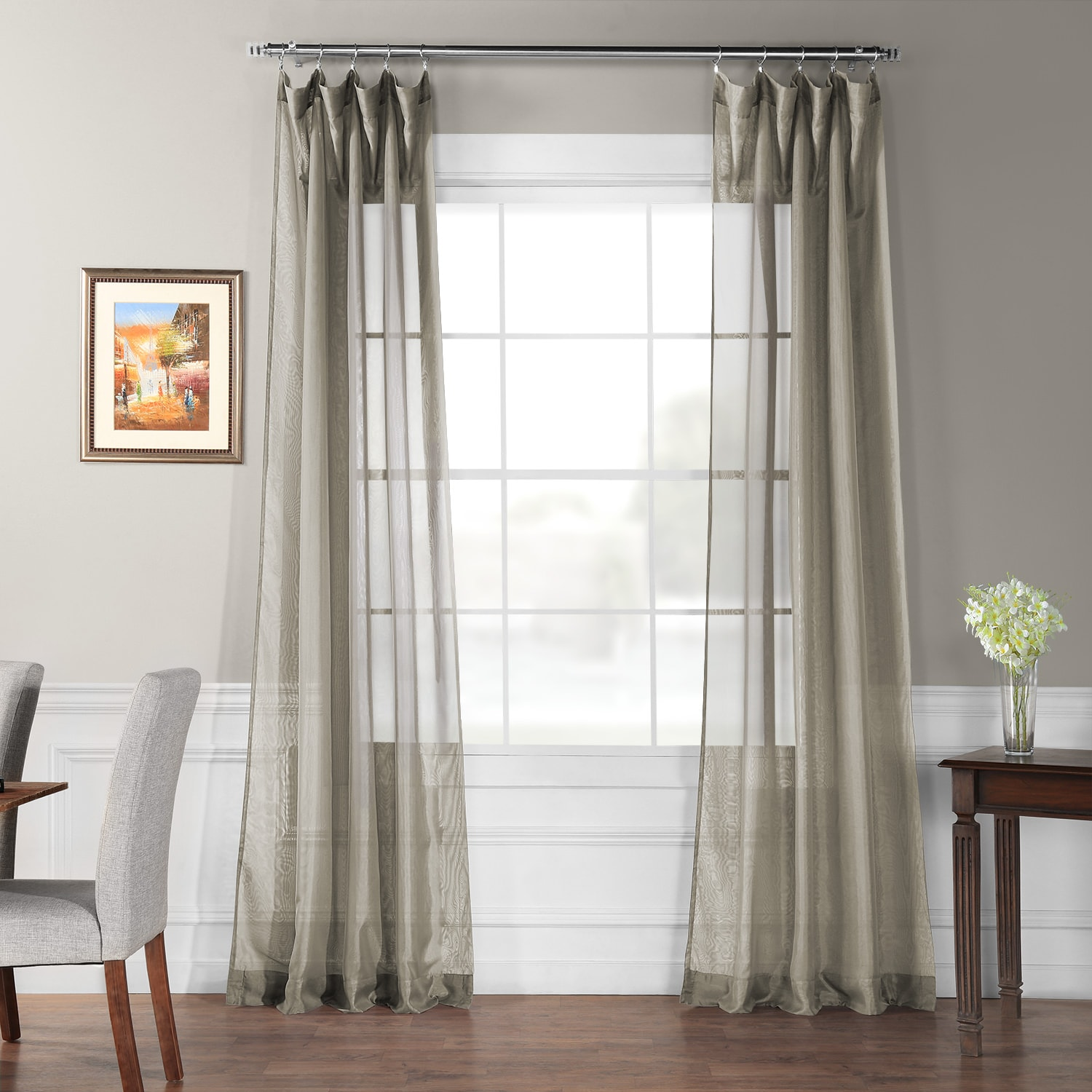 Signature Double Layered Museum Grey Sheer Curtain