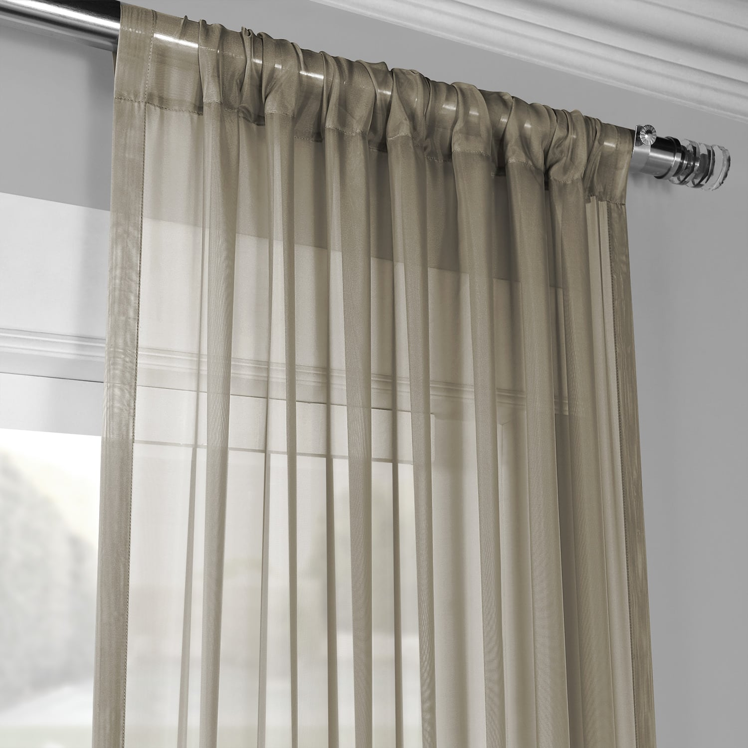 Solid Museum Grey Voile Poly Sheer Curtain Pair (2 Panels)