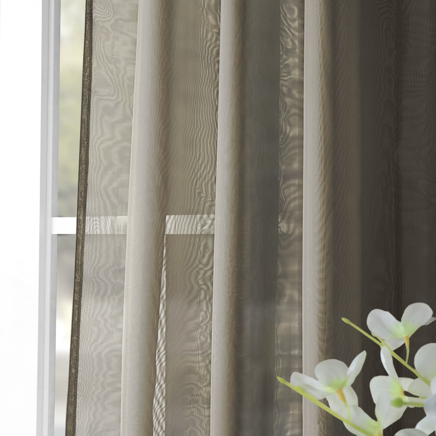 Extra Wide Solid Museum Grey Voile Poly Sheer Curtain