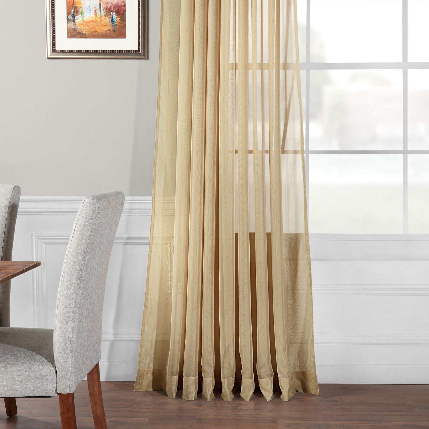Extra Wide Soft Tan Sheer Curtain