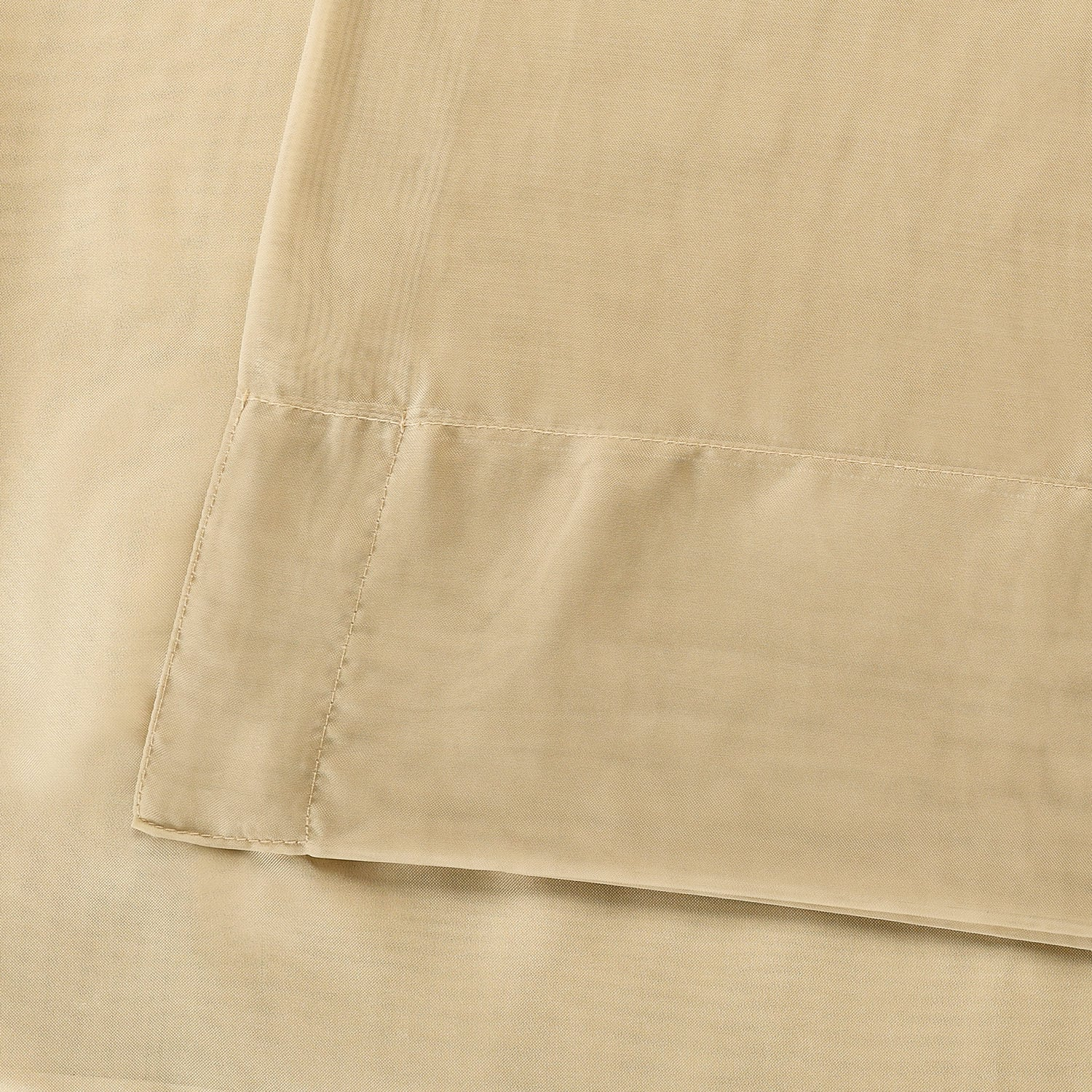 Solid Soft Tan Voile Poly Sheer Curtain Pair (2 Panels)