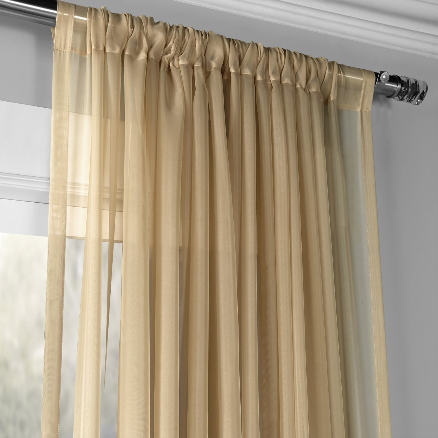 Extra Wide Solid Soft Tan Voile Poly Sheer Curtain
