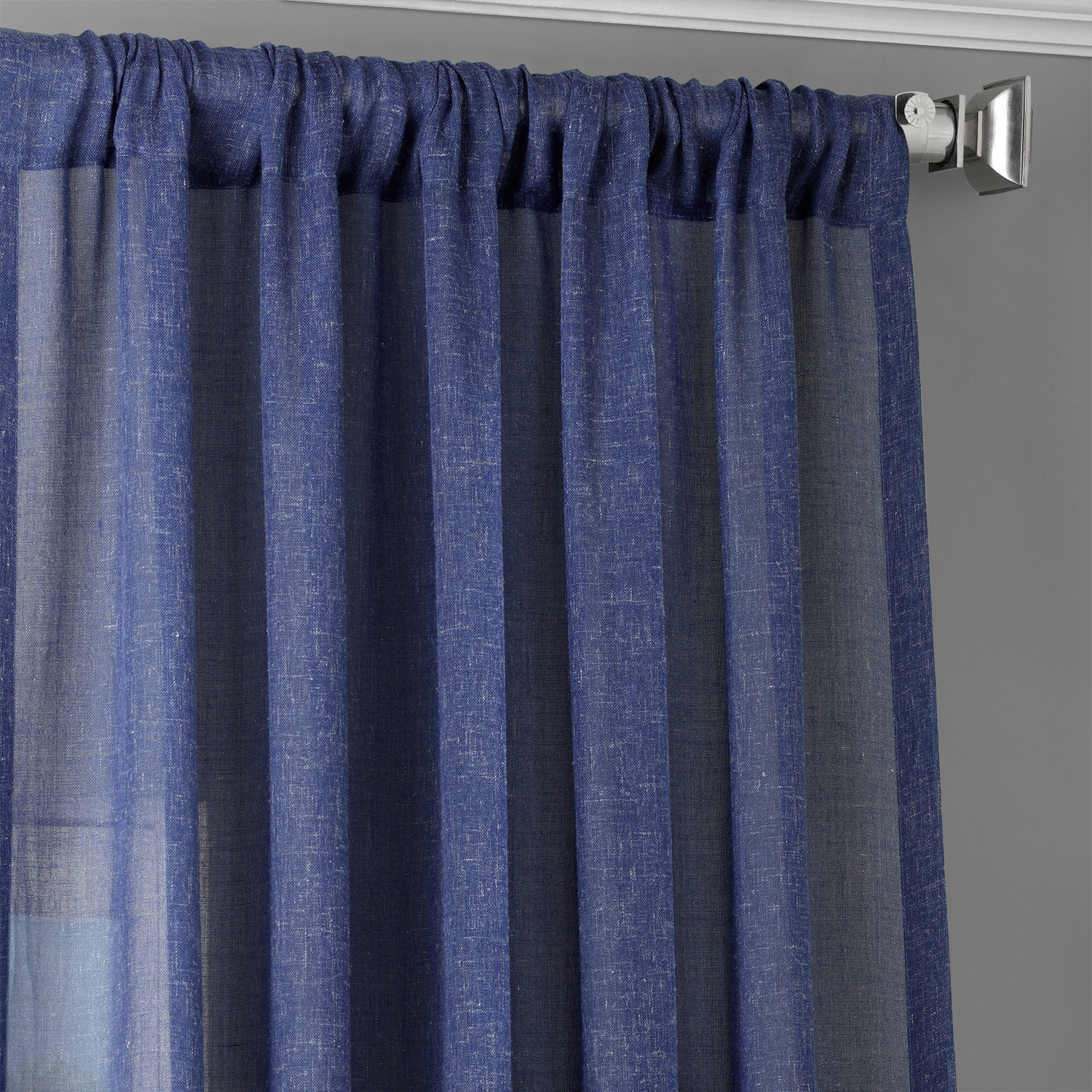 Blue Lapis Faux Linen Sheer Curtain