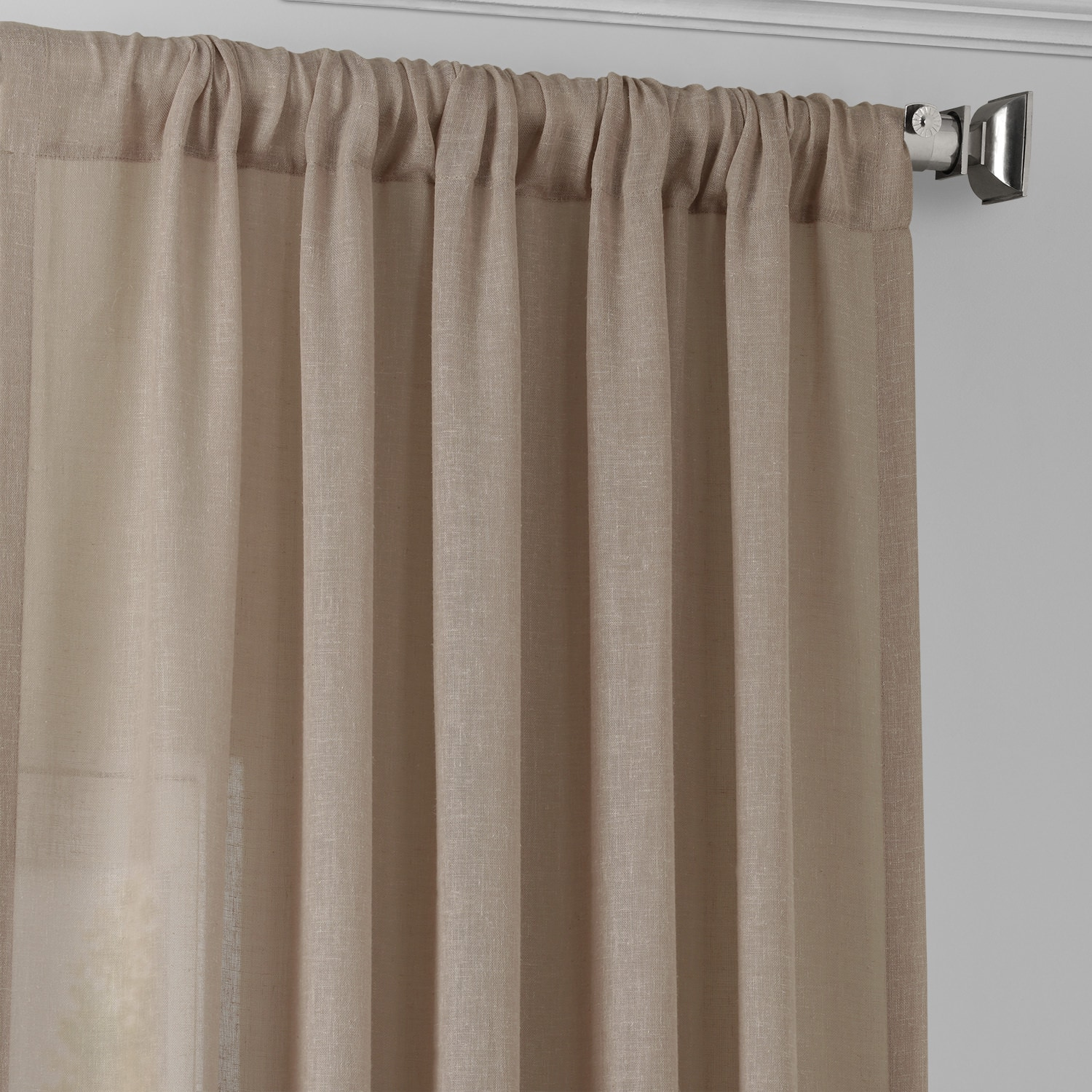 Soft Taupe Faux Linen Sheer Curtain