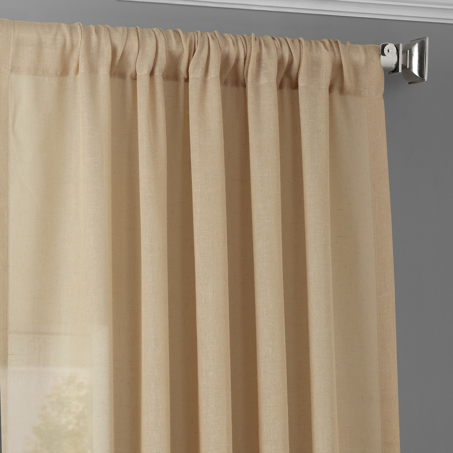 Raffia Tan Faux Linen Sheer Curtain