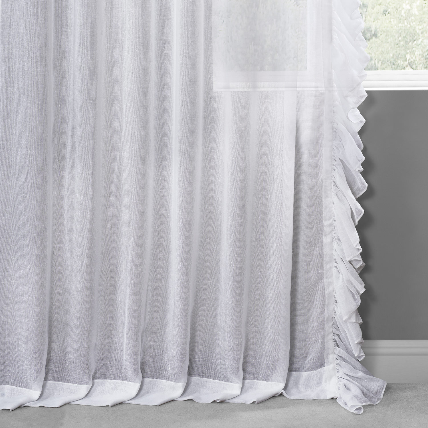 White Orchid Faux Linen Ruffle Sheer Curtain