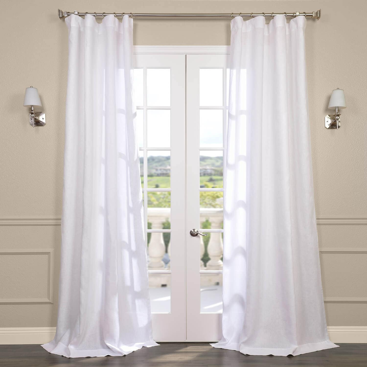 Signature French Linen Sheer Curtains In Purity White
