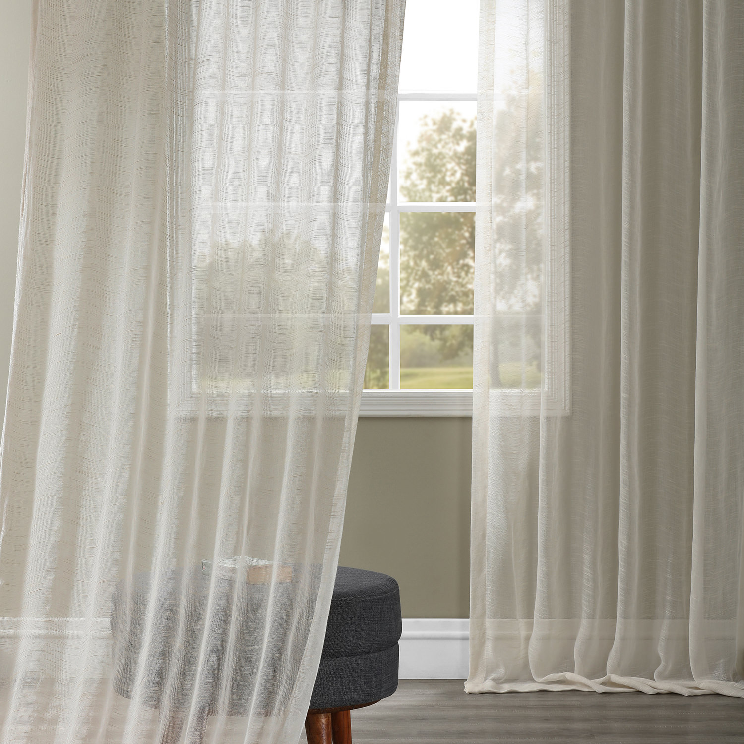 Open Weave Cream Linen Sheer Curtains Drapes