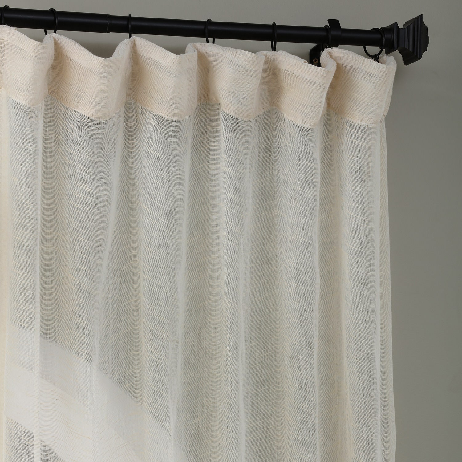 amazing Textured Sheer Curtains Part - 4: Open Weave Cream Linen Sheer Curtain