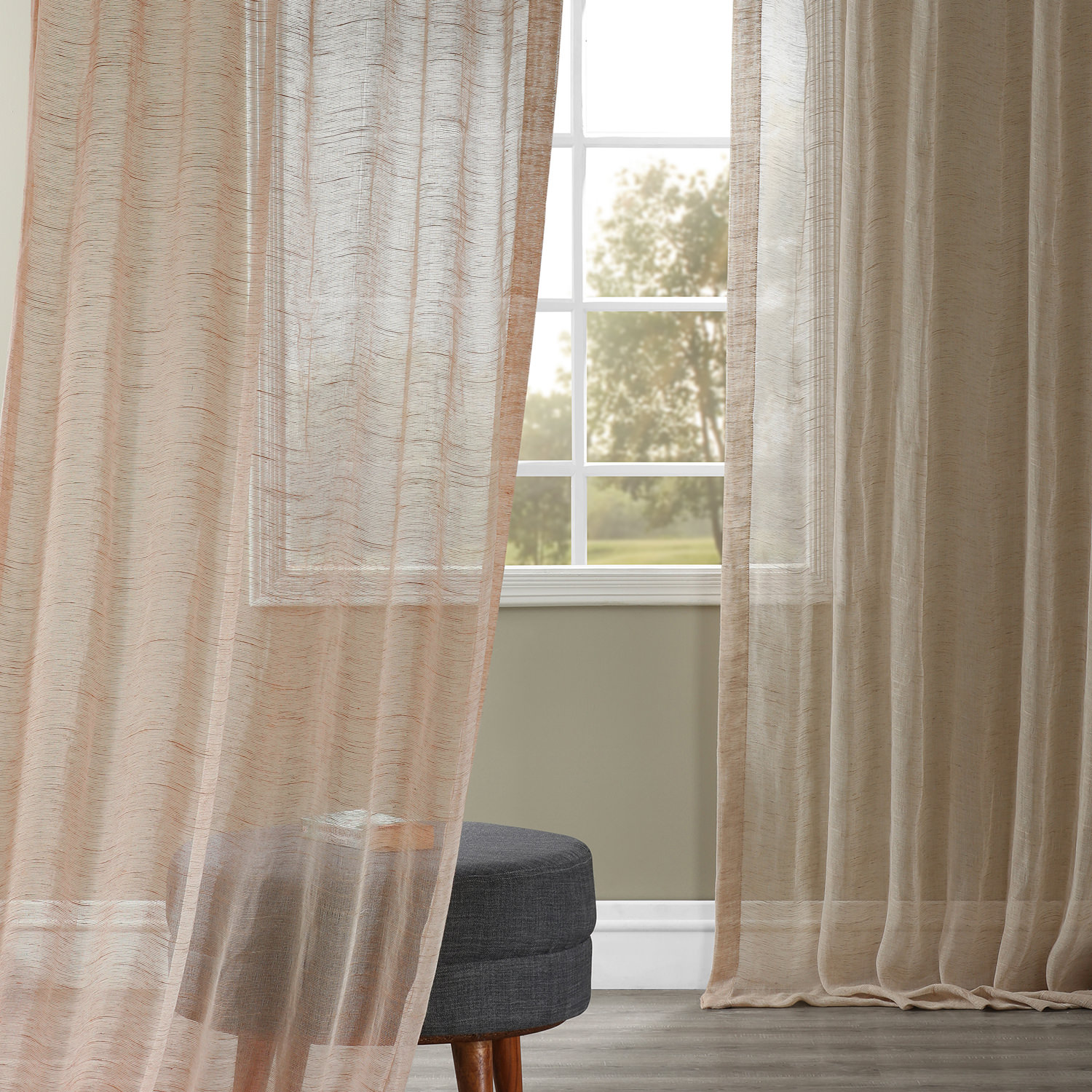 280df4f58 Open Weave Natural Linen Sheer Curtains   Drapes