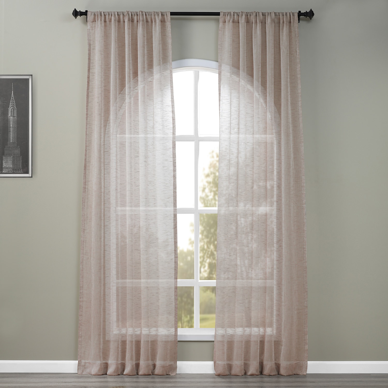 Open Weave Cinder Grey Linen Sheer Curtain Amp Drapes