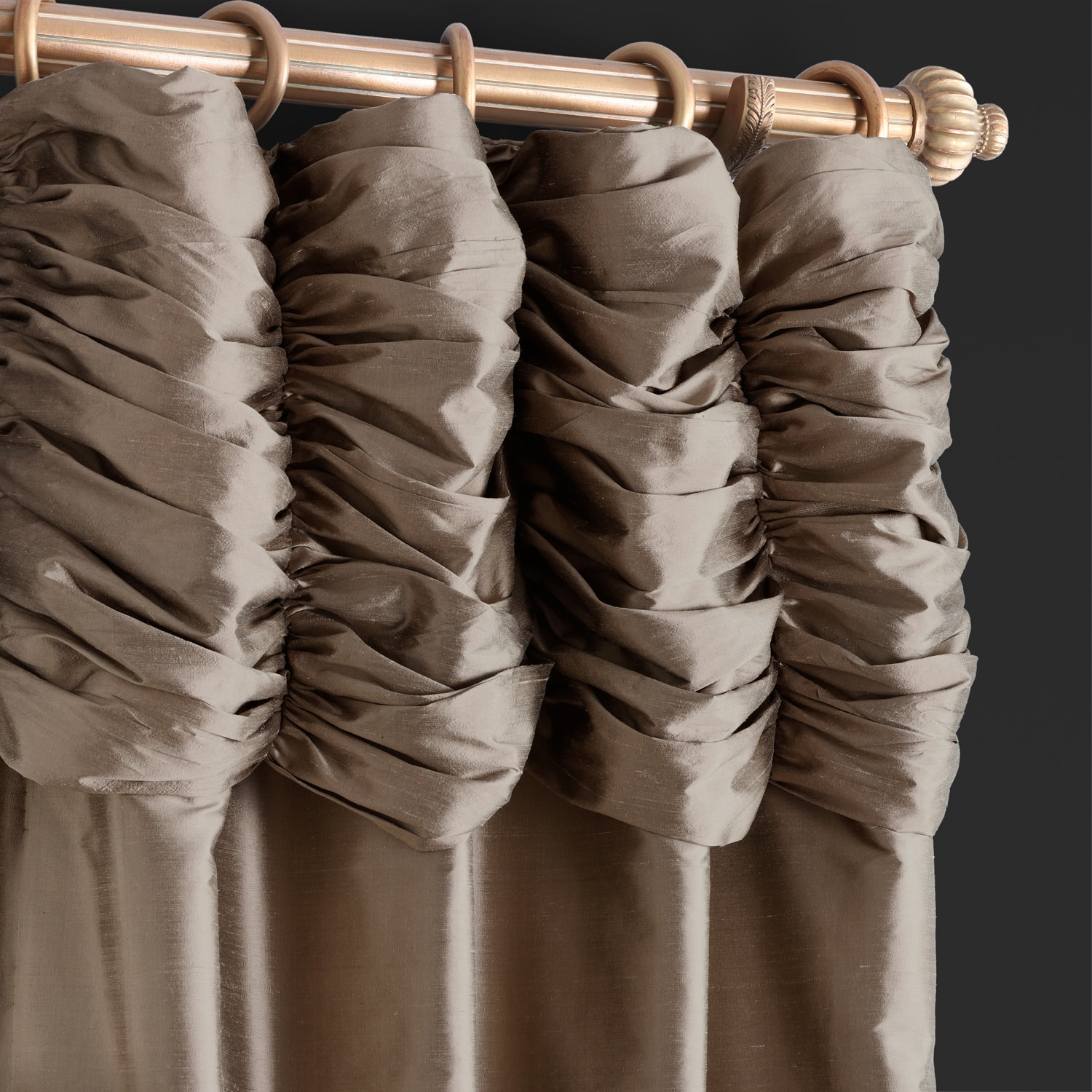 Buy Ruched Silver Grey Thai Silk Curtains Panel