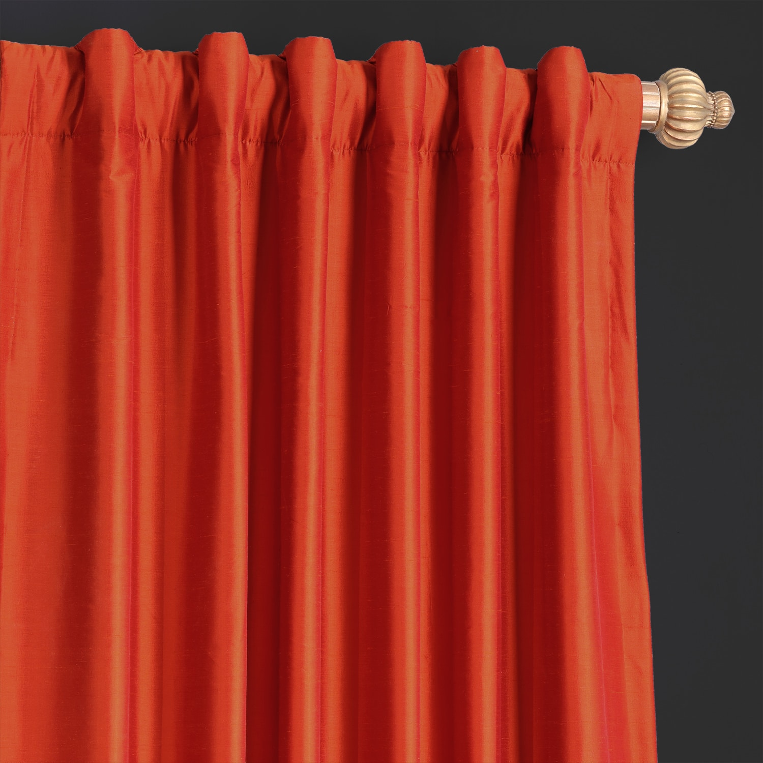 Rustic Orange Thai Silk Curtain