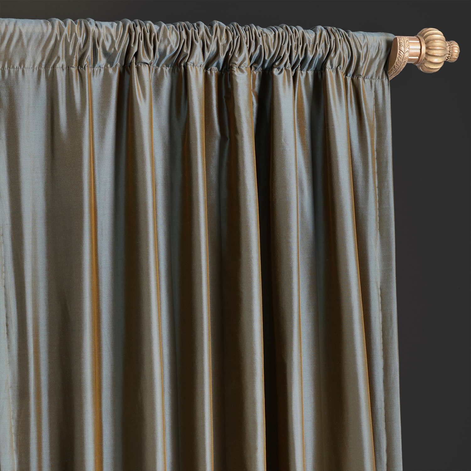Sea Blue Thai Silk Curtain