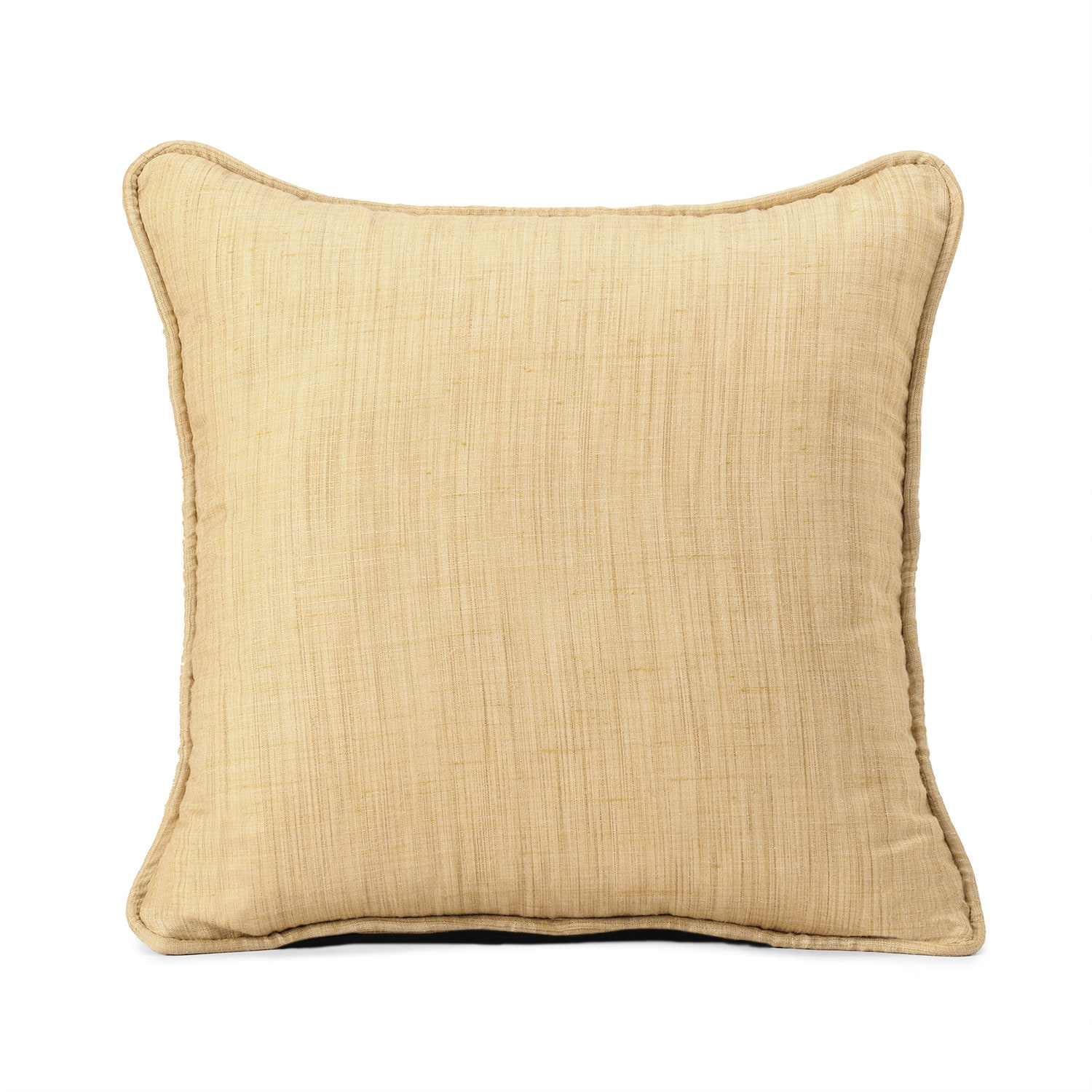 Tan Designer Shantung Faux Silk Cushion Cover - Pair