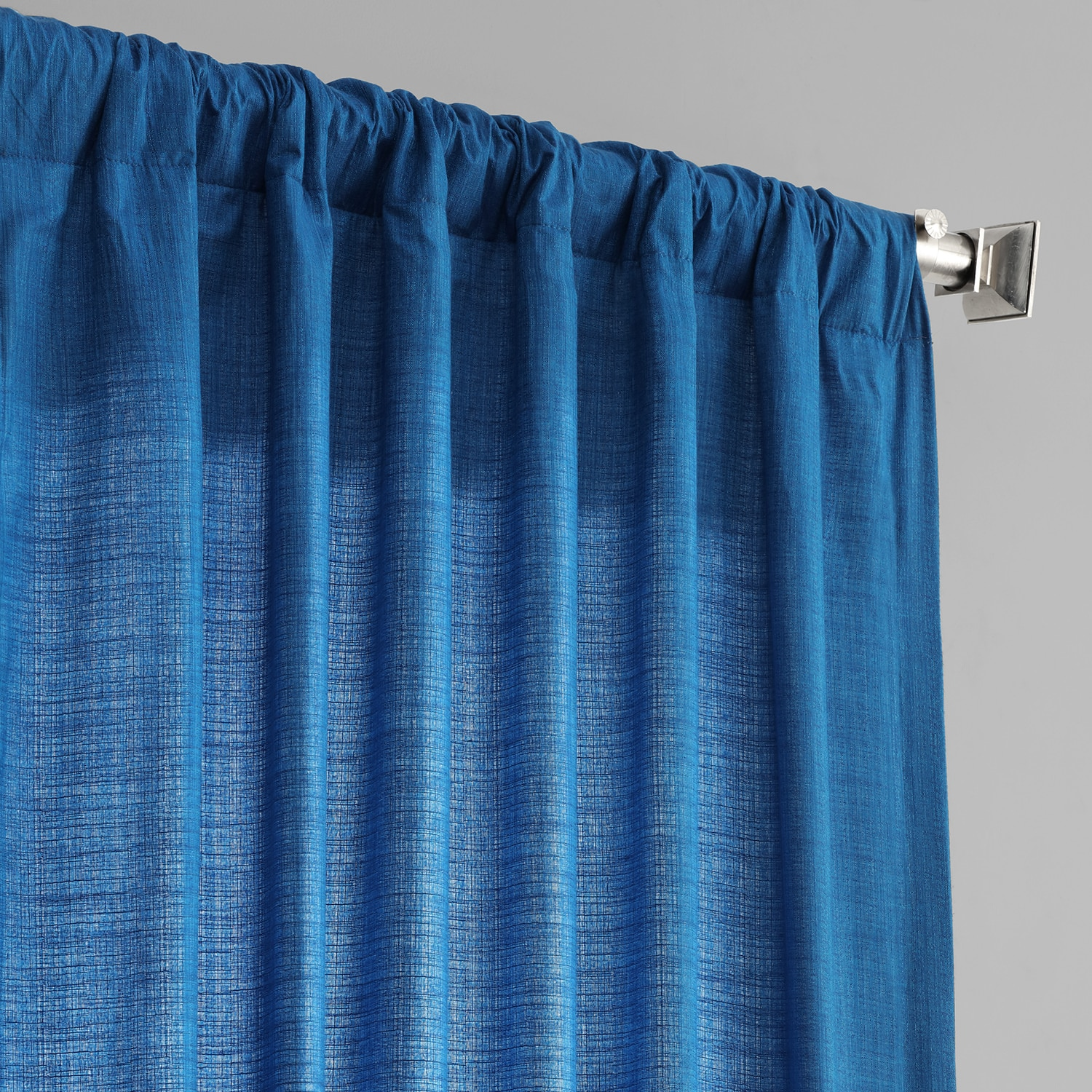 Azure Blue Designer Shantung Faux Silk Curtains